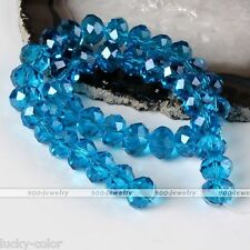 """7*10mm Blue Crystal Glass Faceted Abacus Loose Beads 11"""" 1 Strand Finding Diy"""