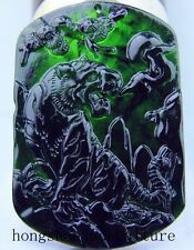 Chinese beautiful natural black Green jade hand-carved tiger Jadeite pendant