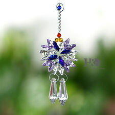 Purple Hanging Suncatcher Crystal Prism Pointed bead Pendulum Feng Shui Pendants