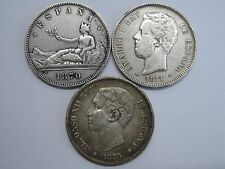 LOT 3 COIN 5 PESETAS 1870 1871 1875 SILVER SPAIN SPANISH