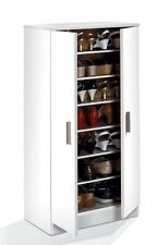 Bellini Hallway 2 Door Shoe Storage Cabinet Unit with 7 Shelves White  Melamine