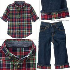 NWT Gymboree HOLIDAY SHOP Boys Size 6-12 Months Flannel Shirt & Jeans 2-PC SET