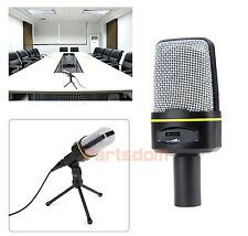 Professional 3.5mm Studio Microphone Mic w/ Stand for Skype Desktop PC Notebook
