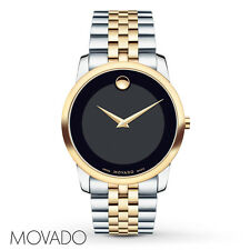BRAND NEW MOVADO MUSEUM CLASSIC TWO-TONE BLACK DIAL MEN'S WATCH 0606899
