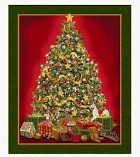 """36"""" Fabric Panel - Quilting Treasures Best Time Year Christmas Tree Wallhanging"""