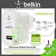 Belkin Travel Kit USB Wall Charger Plugs US, UK, EU, AU, CN, Korea 12W 2.4A