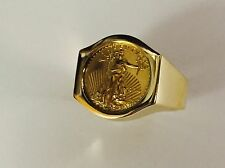22K FINE GOLD 1/10 OZ US LIBERTY COIN in14k gold Ring  20 MM