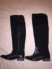 ASOS Over The Knee Flat Boots Leather Suede Black Uk 6 LOOK