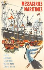 MESSAGERIES MARITIMES SHIP LINE POSTER STYLE ADV PC, HARBOR SCENE c 1920-1930's