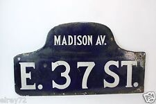 ANTIQUE NYC Porcelain Street Sign madison AVE. E. 37 ST. Road Sign New York City
