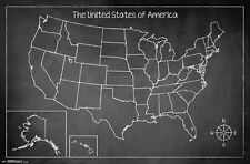 CHALK MAP OF THE UNITED STATES POSTER - 22x34 - GEOGRAPHY USA 14747