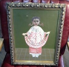 AGAPITO LABIOS VINTAGE MEXICAN FOLK ART OIL PAINTING YOUNG GIRL