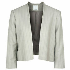 ANAGRAM $475 open-front taupe cotton linen striped blazer cropped jacket 8 NEW