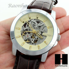 Mens Elgin Luxury Auto Chronograph Skeleton Stainless Steel Leather Watch GW188B