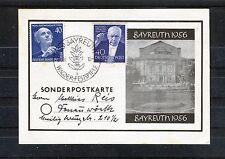 Berlin Michel Nr. 124+128 auf Sonderpostkarte Bayreuth 1956 - b0576