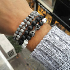 Fashion White Howlite Matte Onyx Micro Pave CZ Dragon Claw Beaded Bracelet 1Set