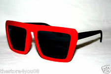 Men's Women's Square Design Sunglasses Retro Geek Nerd black red flat frame 491