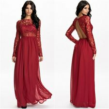 Wine Red  Lace and Chiffon Dress Long Sleeves With Cut Out Back One Size UK8-10