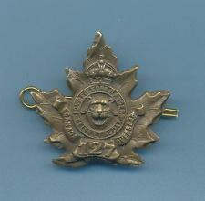 127th INFANTRY BATALLION YORK RANGERS.BRASS CANADIAN ARMY CAP BADGE