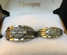 Mens & Womans Matching Solid 10k White Gold Harley Davidson Rings Wedding