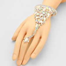 Silver and AB Faux Pearl Crystal Cluster FASHION Rhinestone Hand Chain Bracelet