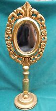Italian 19 Century Carved Wooden Gold Leaf Mirror On Stand  MAGNIFICENT