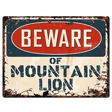 PP1325 Beware of MOUNTAIN LION Plate Rustic Chic Sign Home Room Store Decor Gift