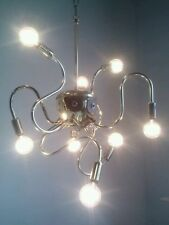 VINTAGE OCTOPUS ROBOT ATOMIC LIGHT LAMP SPUTNIK EYEBALL CHANDELIER TORINO BRASS