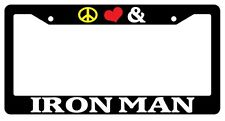 Black License Plate Frame Peace Love And Iron Man Auto Accessory Novelty 36