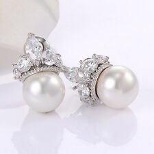 Silver Plated CZ Pearl Crown Elegant Fashion Jewelry Womens Earings Wedding