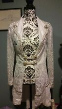 White Silver Lace Fringe Coat Lab Coat bellydance Belly Dance Costume Dress