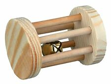 New - Trixie Wooden Playing Roll With Bell Small Pet Rabbit Guinea Pig Toy 6183