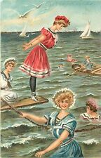 c1906 Chromolithograph Postcard Old Fashion Bathing Suit Beauties at the Ocean