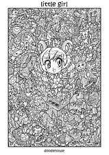 "DOODLE POSTER ""Little Girl"" - Massive A1 (84cm x 59cm) Colouring In Poster"