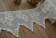 "3 Yards White Hand Crochet Lace Trim Victorian Rose Cotton 8.5"" wide"