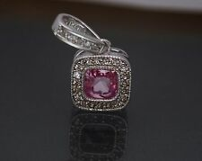 14K Solid White Gold Cushion Halo Created Pink Sapphire Diamond Pendant 1TCW