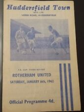 Huddersfield Town v Rotherham United 6 January 1962 FA Cup Third Round