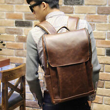 Vintage Men's Synthetic Leather Backpack Shoulder Laptop School Bag Rucksack New