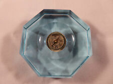 RARE ANTIQUE TURQUOISE BLUE GLASS JAPANESE DESK COMPASS & PAPERWEIGHT