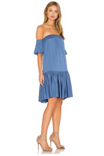NWT Milly Off The Shoulder Flutter Dress in Steel Blue Size P $450.00