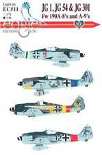 EagleCals Decals 1/48 FOCKE WULF Fw-190A Fighters of JG 1 JG 54 & JG 301