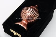 """3"""" Solid Brass Copper Oak Leaf Cremation Memorial Keepsake Ashes Urn + Case, NIB"""