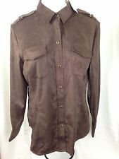 NWT NEW YORK & COMPANY WOMEN BROWN THE MADISON LONG SLEEVE SHIRT SUEDE LIKE XL