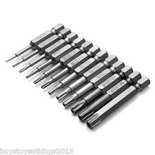 12pcs 1/4 Inch 50mm*T5-T40 Magnetic Torx Screwdriver Bits Set. UK SELLER