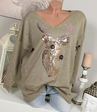Oversize tricot fin pull Hirsch paillettes pull vintage beige or 36 38 40