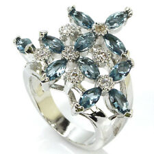 Beautiful London Blue Topaz S/Silver 925 & CZ Ring Size 8,5 Weimaraner Rescue
