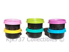 NEW 6 BLACK TUPPERWARE SMIDGETS TINY 1 OZ CONTAINERS PINK PURPLE BLUE SEALS +!