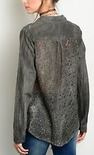 COWGIRL GYPSY LACE BACK Distressed RODEO Western Button up SHIRT NWT MEDIUM