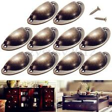 10X Antique Cupboard Cabinet Knob Cup Furniture Door Drawer Shell Pull Handles