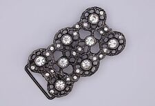 Belt Buckle 1 1/4 in Gun Metal Color Rhinestone Buckle New